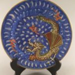 Japanese Dragonware plate blue background