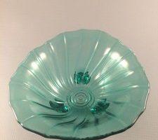 Jeannette Petal Swirl Ultramarine depression glass candy dish top view