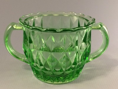 Jeannette Windsor Green Depression Glass Sugar