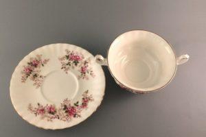 Lavender Rose bouillon cup Royal Albert top view of both separately