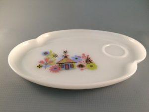 Milk glass snack tray Chalet pattern