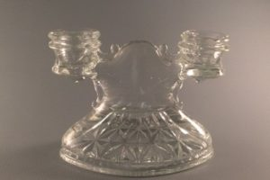 L.E. Smith Mt Pleasant clear pressed glass double candlestick with Prescut detail front view