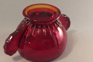 New Martinsville Radiance ruby sugar bottom view