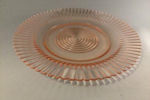 Petalware pink depression glass dinner plate