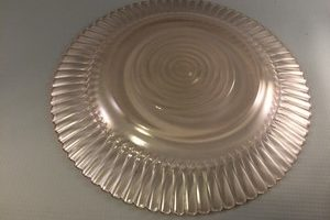 Petalware pink depression glass plate bottom view