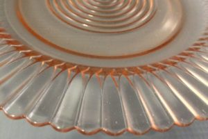 Petalware pink depression glass rim close up