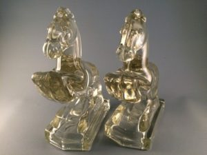 Rearing horse glass bookends front view