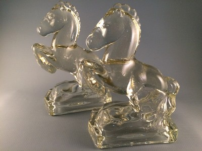 Rearing Horse Glass Bookends-Smith
