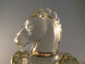 Smith rearing horse glass bookends head close up