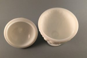 Vintage Avon milk glass candy dish with lid top view