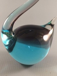 vintage blue murano art glass swan body closeup