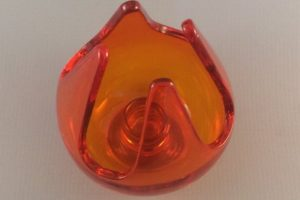 Vintage Viking Glass candle cup top view